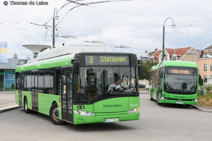 Trolleybus og batteribus ved Skeppsbron i Landskrona